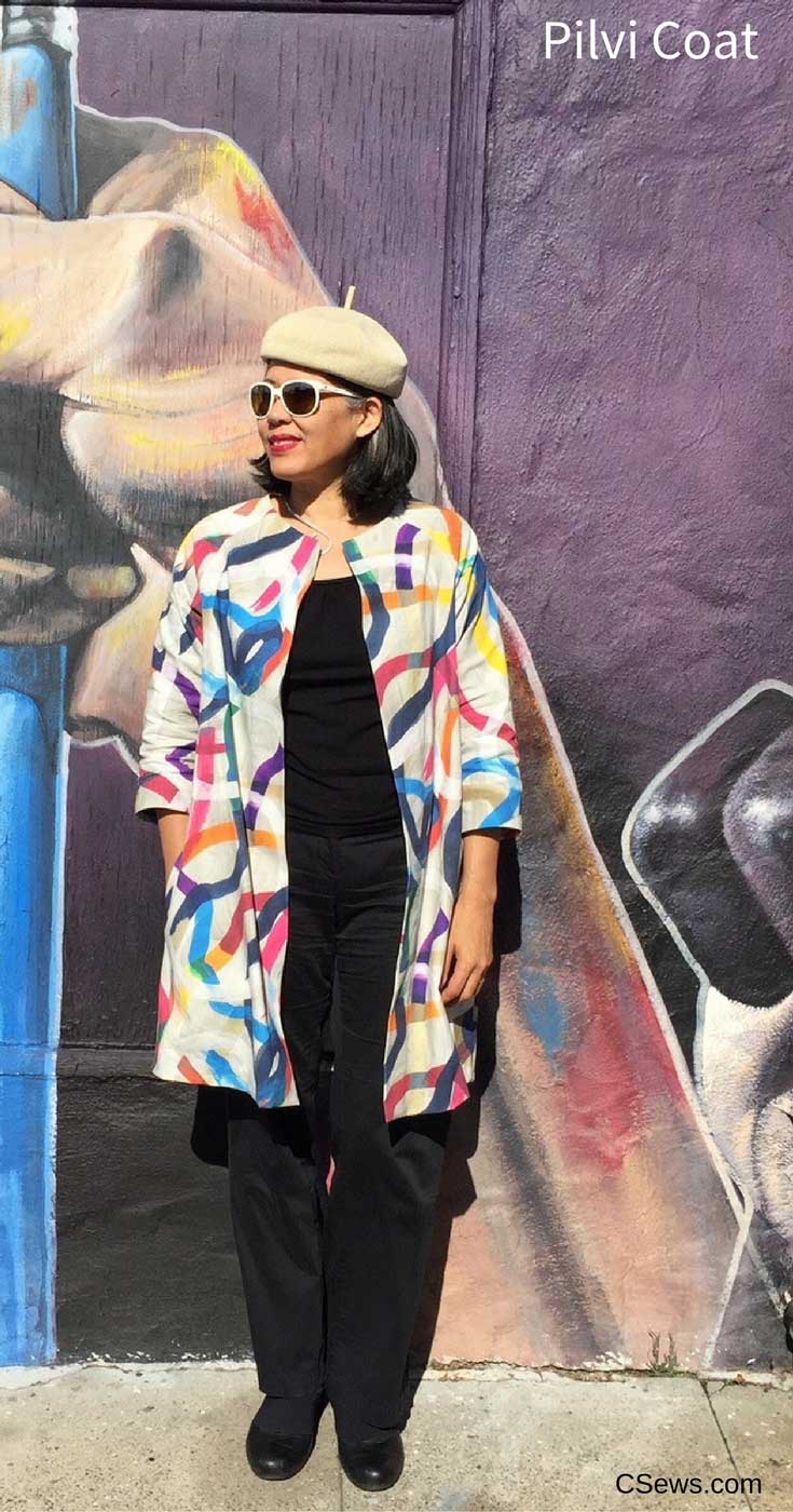 Colorful Pilvi Coat - pattern from Lotta Jansdotter Everyday Style sewing book - CSews.com