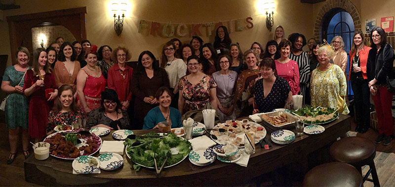 Bay Area Sewists Frocktails in February - group photo!