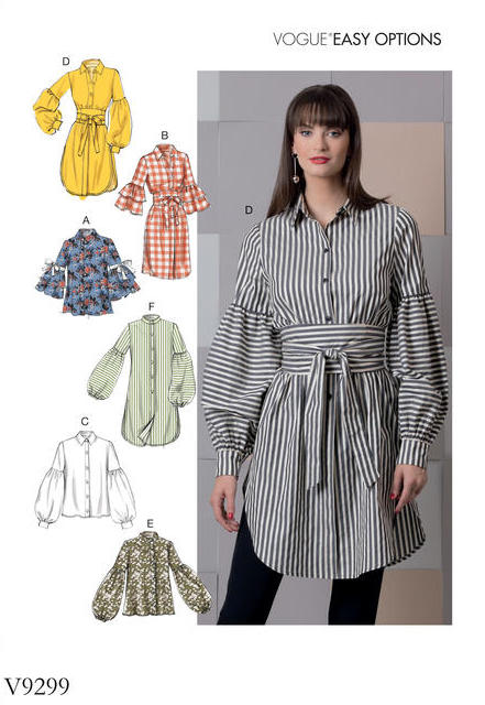 Big four 2018 Spring Patterns - Vogue V9299 - tops with sleeve and length variations - CSews.com