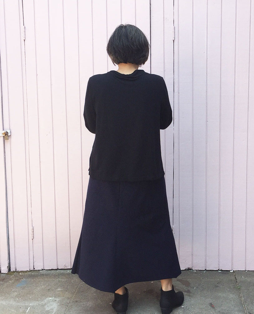 Knit ensemble - Pilvi Coat, Toaster Sweater 2 and denim knit skirt from Alabama Chanin Studio Sewing + Design - CSews.com