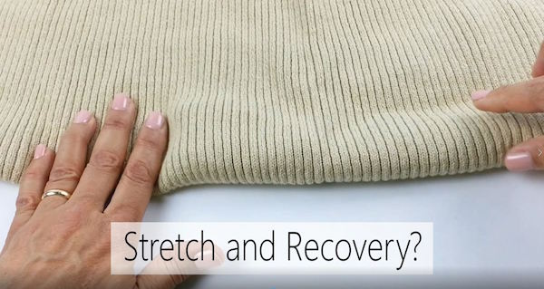 Stretch and recovery of sweater knit fabric