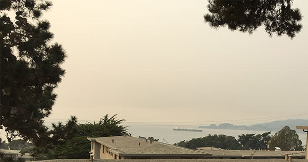 View of the bay from window in Presidio