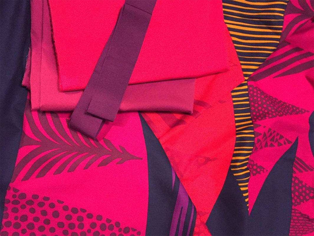 Tultakero - Marimekko fabric, red and fuschia fabrics for color blocking, Petersham ribbon - Sew Frosting - CSews.com