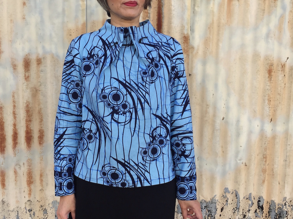 Elastic Tie Sweater - pattern by The Assembly Line - African wax print - CSews.com