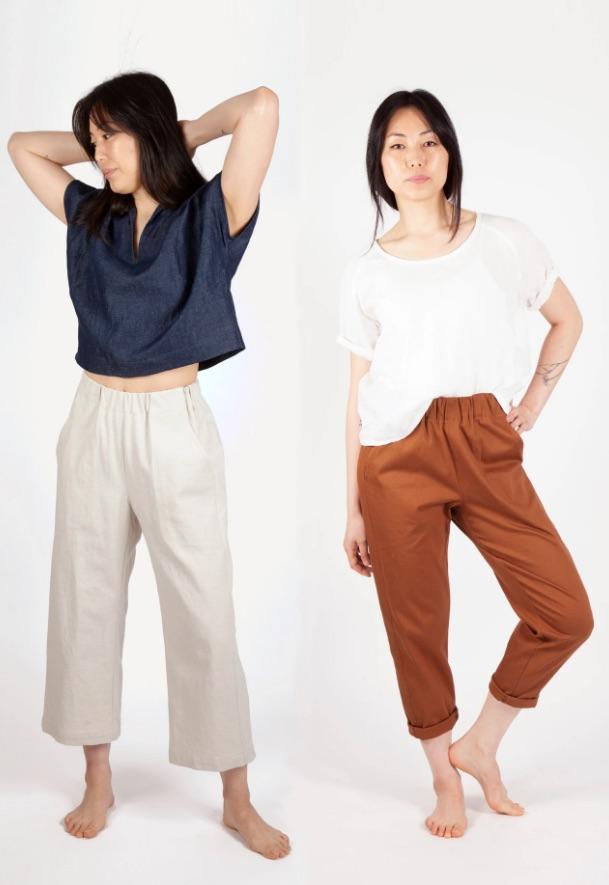 Models wearing Free-Range Slacks sewing pattern by Sew House Seven - pattern in my sewing queue
