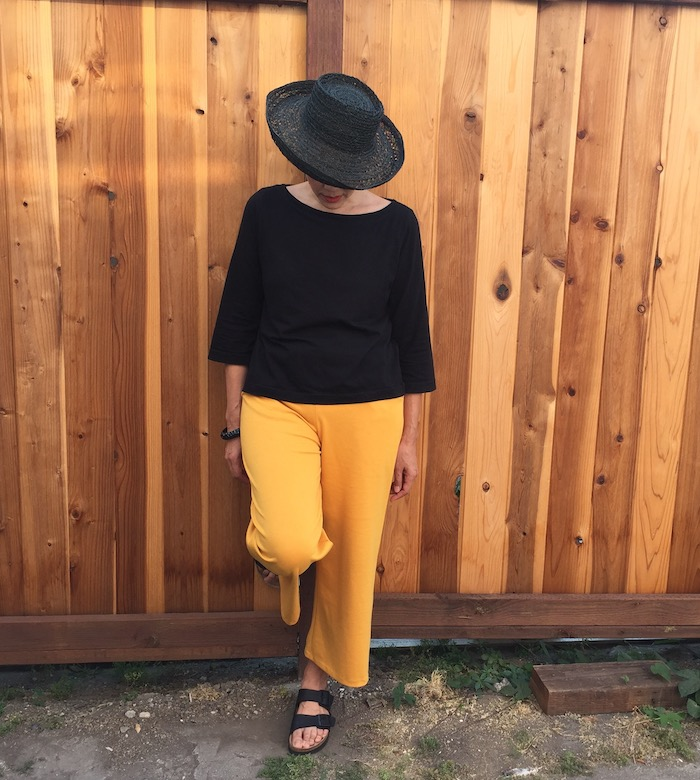 Joan Trousers with black hat and top - front view