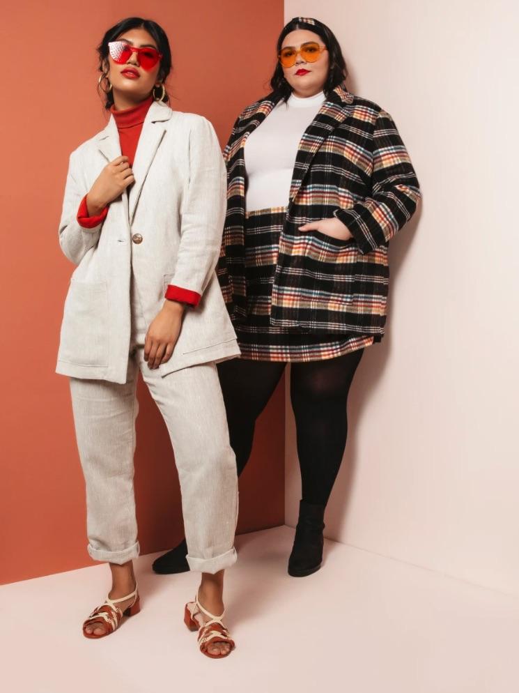 Women wearing Heather Blazer, sewing pattern by Friday Pattern Company