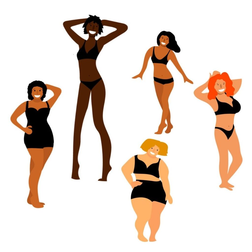 Sewing pattern height -blog post -  illustration of women of differnt heights and bodies